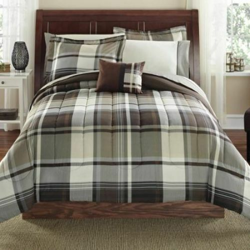 king size comforter and sheet set brown plaid bed in a bag