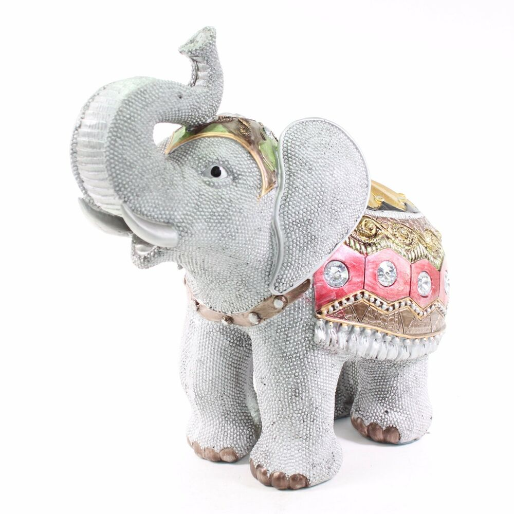 "Elephant Home Decor: Feng Shui 10"" Gray Elephant Trunk Statue Lucky Figurine"