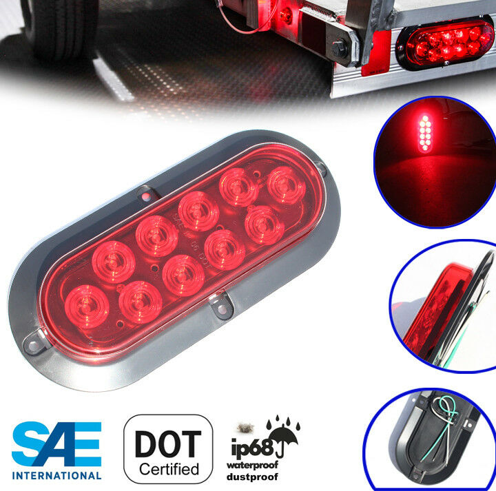 6 red oval oblong surface mount led stop turn tail light. Black Bedroom Furniture Sets. Home Design Ideas