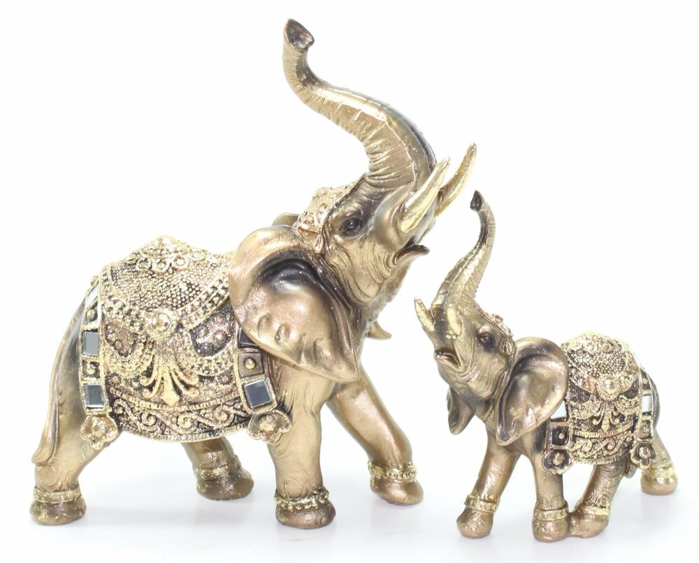set of 2 feng shui gold elephant trunk statue lucky figurine gift home decor ebay. Black Bedroom Furniture Sets. Home Design Ideas