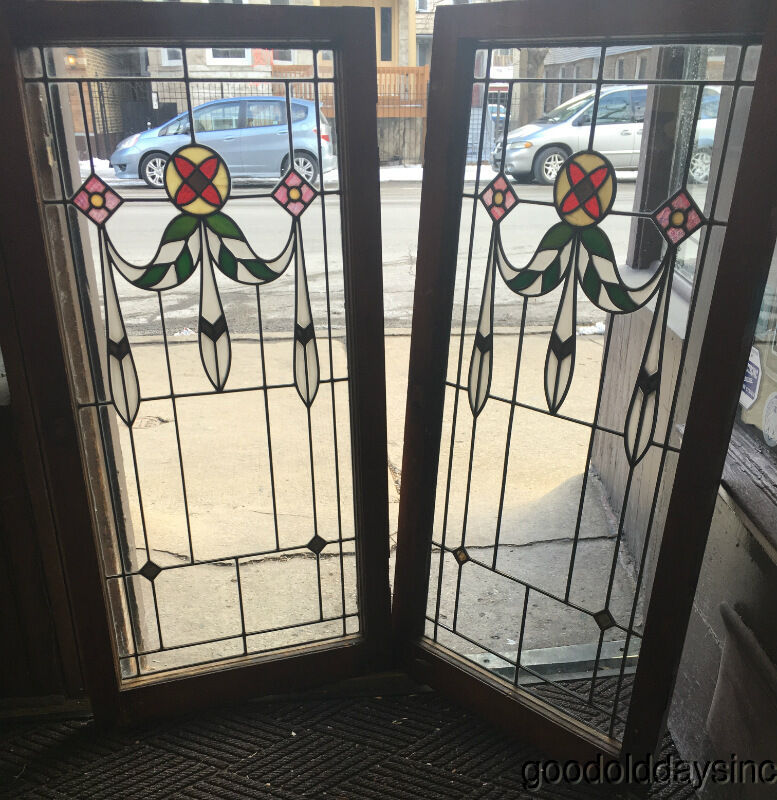 Pair of 1920s chicago bungalow stained leaded glass for 1920s window