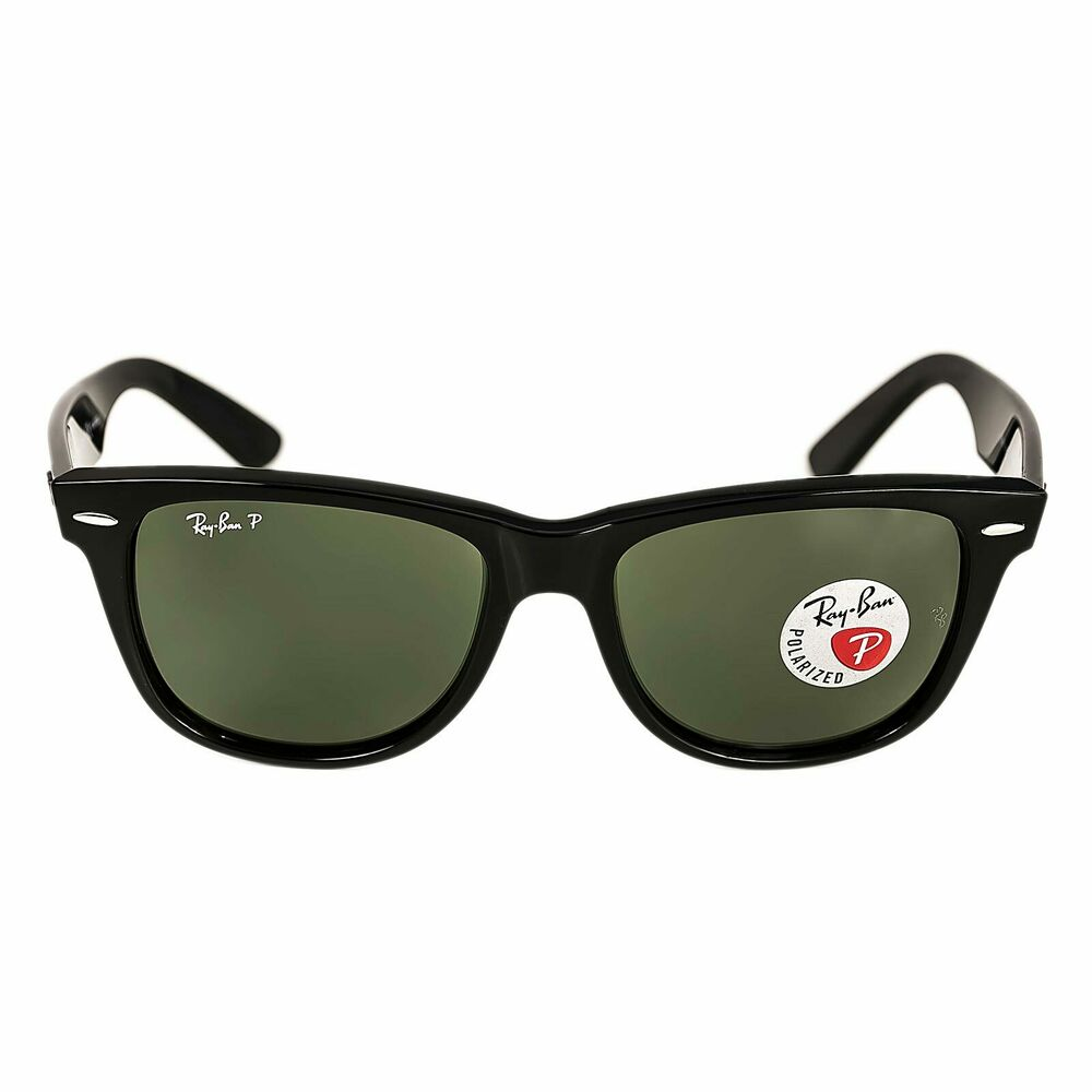 d03098fc95 Details about Ray-Ban RB 2140 901-58 54 Wayfarer Black Plastic Frame Crystal  Polarized Green L