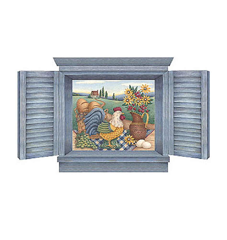 Rooster sunflower mural blue shutters window wall mural for Country wall mural