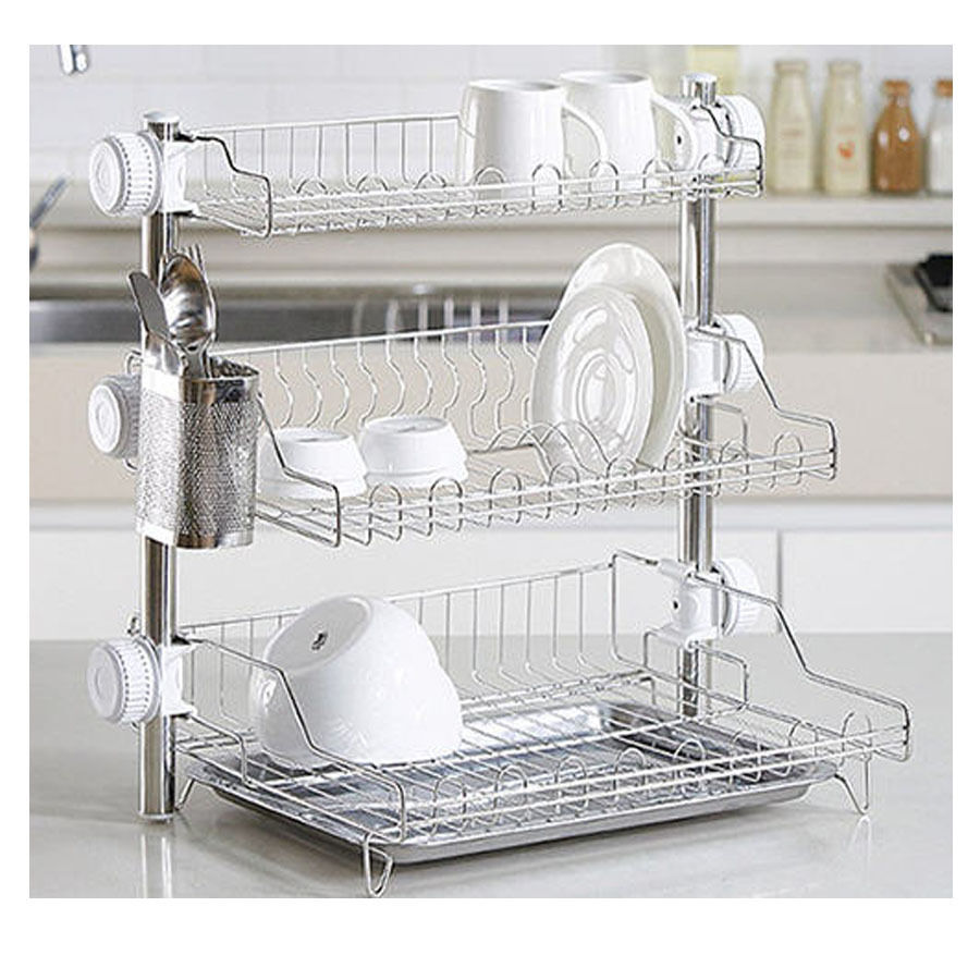 New stainless 3 floor stand dish drying rack cup storage shelf sink kitchen ebay - Kitchen sink drying rack ...