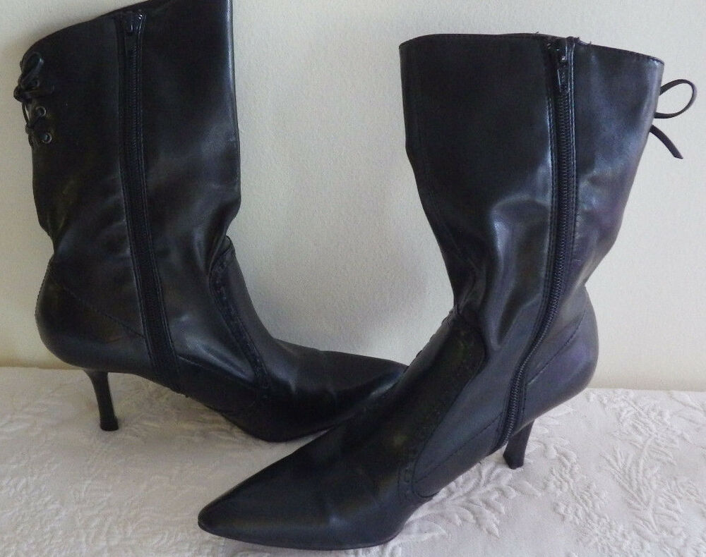 womens shoes 3 quot high heel black zip up boots mossimo size