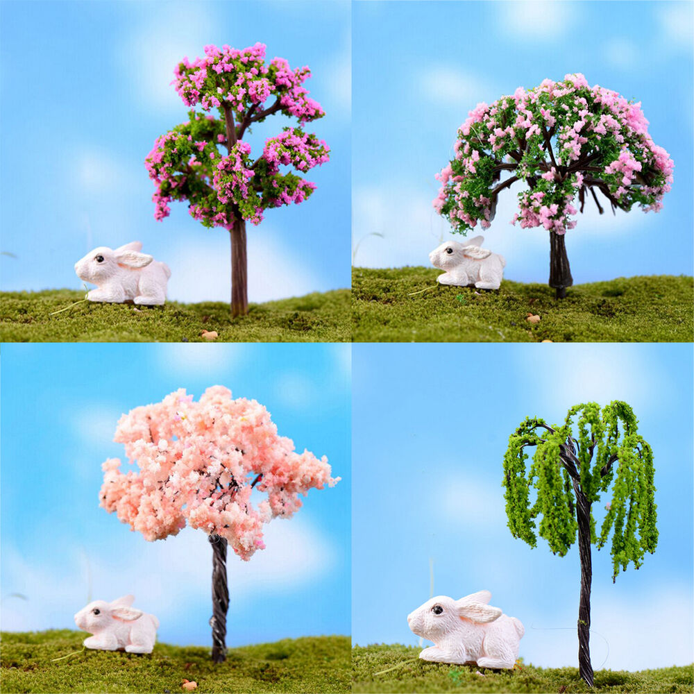 Diy tree plants miniature house garden dollhouse micro for Tree decorations for garden