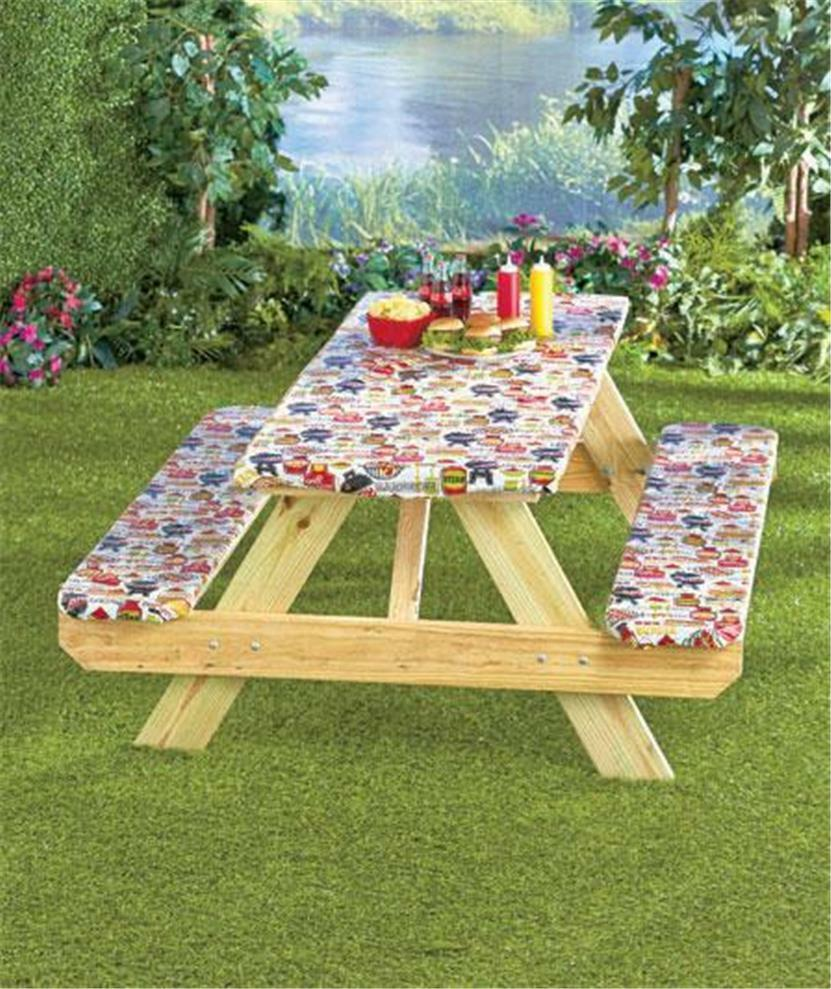 3 Piece Picnic Table Cover Custom Fit Elasticized Binding