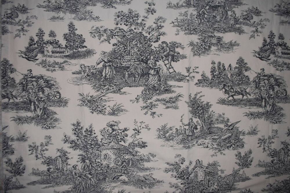 Waverly Garden Room Black Country Life Toile Fabric