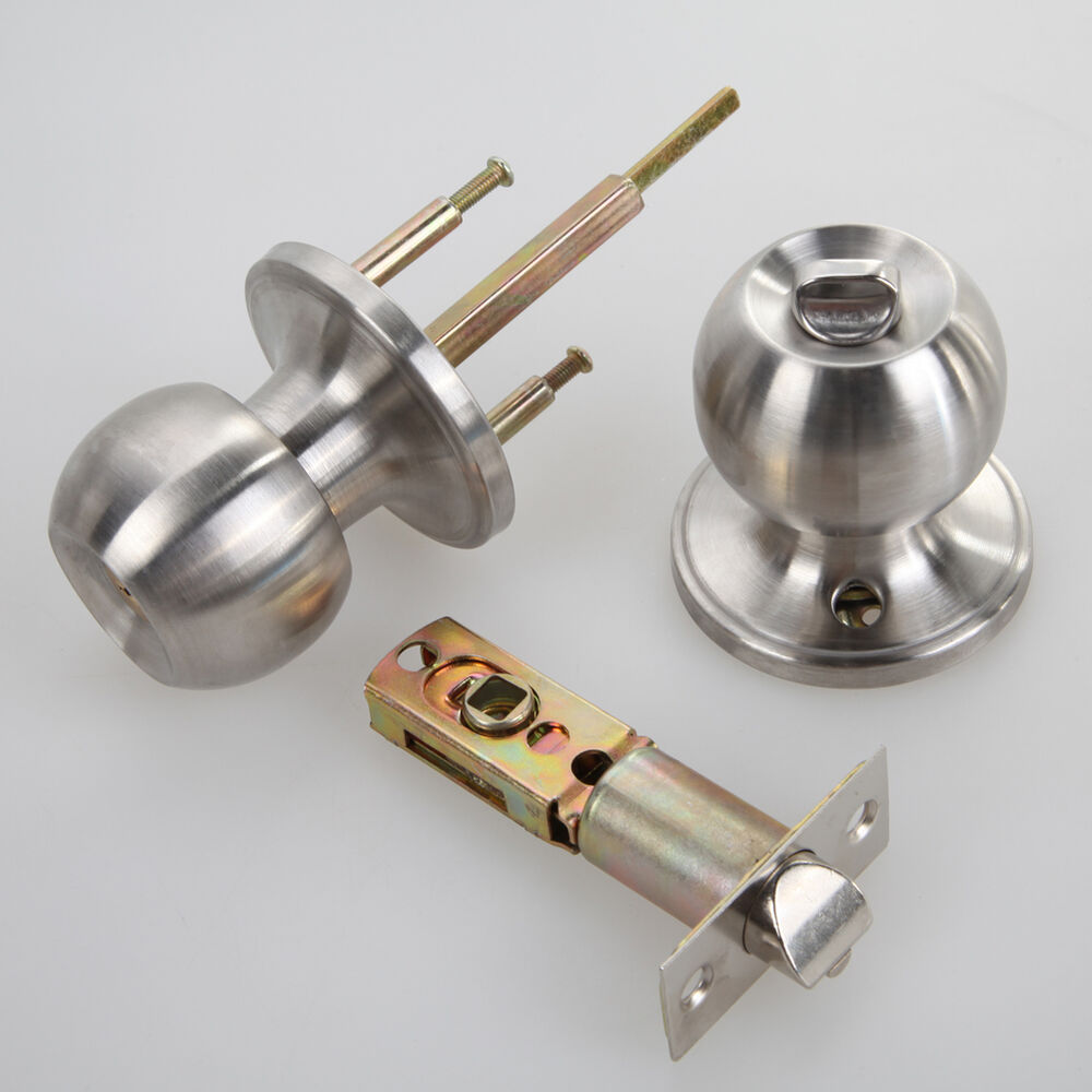 Stainless round ball door knobs set handle entrance for Door knobs ebay