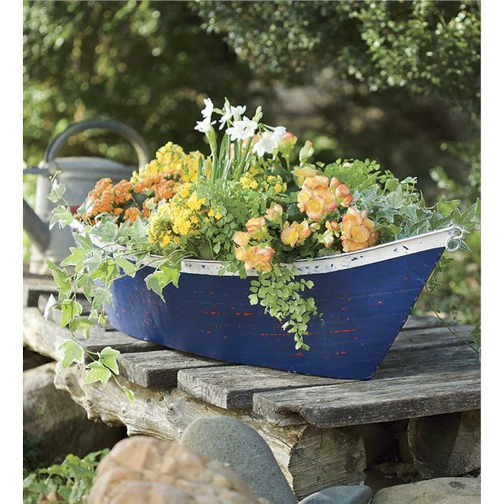 Recycled Plant Pots: Boat Planter Box Handmade Of Recycled Metal Distressed