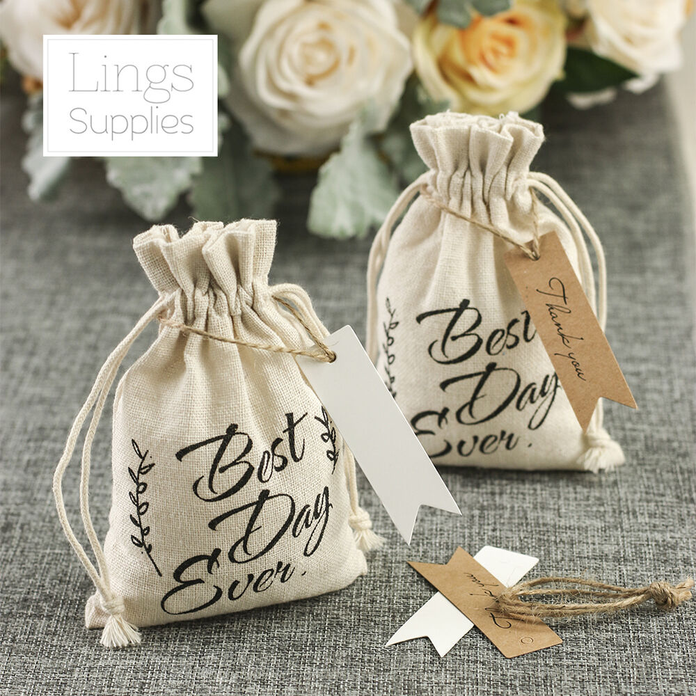 "4x6"" Cotton Favor Bags W/Paper Hang Tags Value Pack"