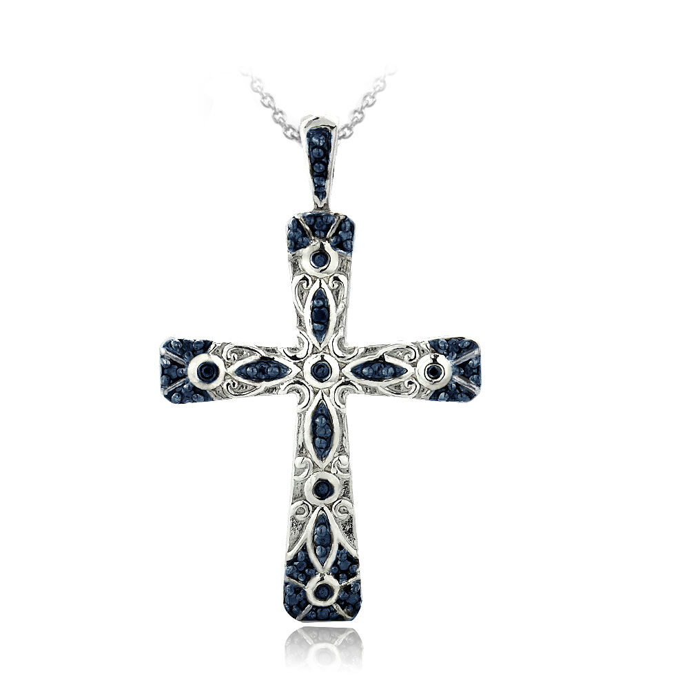 Db designs sterling silver blue diamond accent filigree for Black and blue jewelry cross necklace