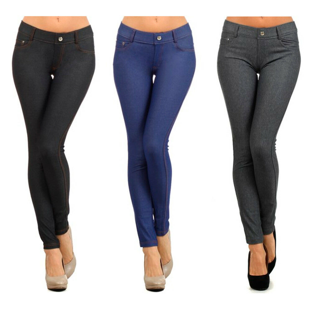 Womens Jeggings Jeans Look Skinny Stretch Sexy Soft ...