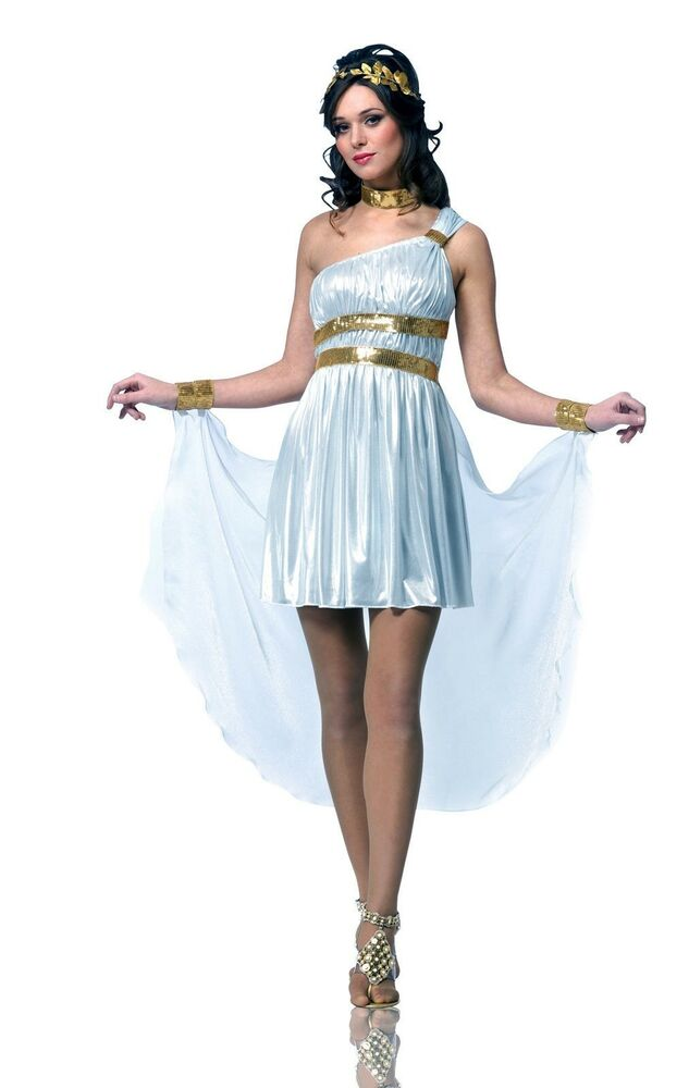 Greek Roman Goddess Queen Costume White Toga Dress Gown ...