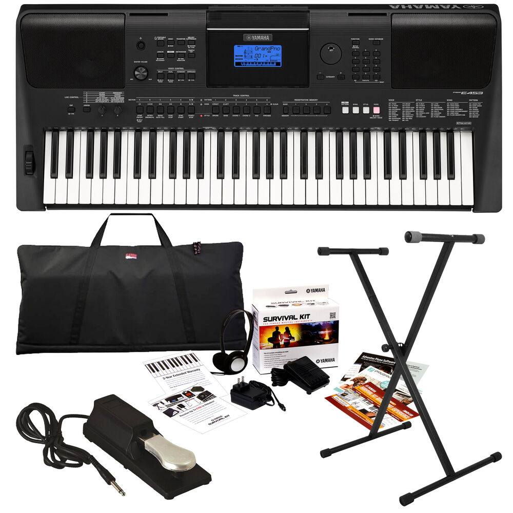 yamaha psr e453 portable keyboard stage essentials bundle ebay. Black Bedroom Furniture Sets. Home Design Ideas