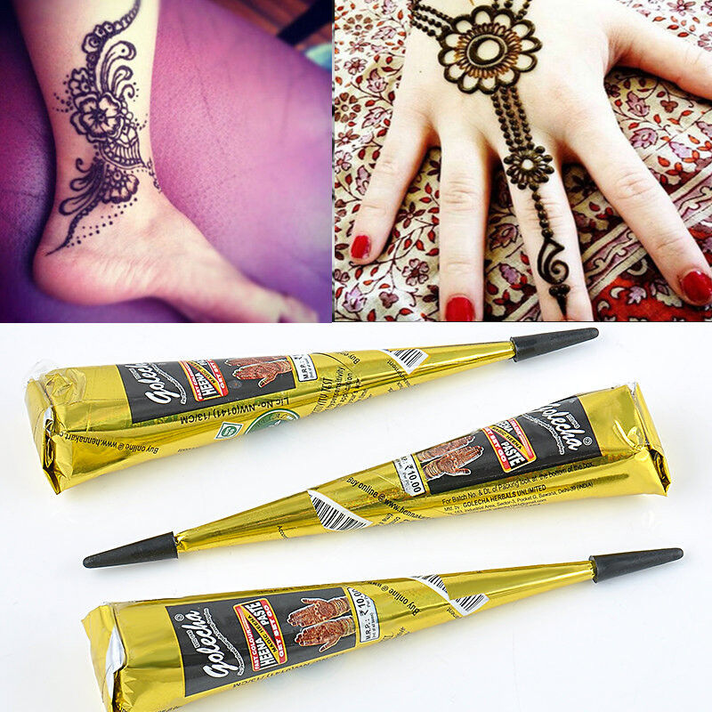 Tattoos Henna For Body: Body Art PaintNatural Herbal Henna Black Cones Temporary