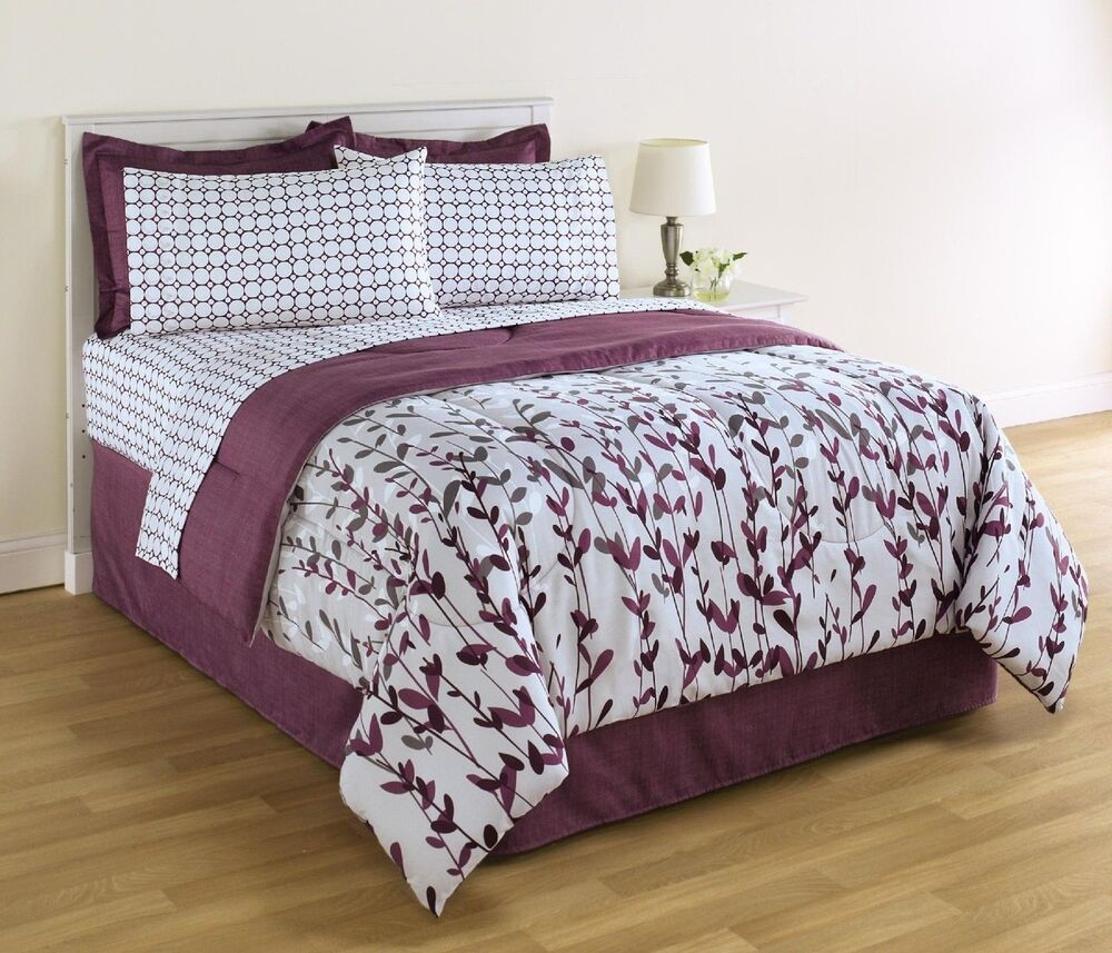 king size white and purple comforter and sheet set floral bedding ebay. Black Bedroom Furniture Sets. Home Design Ideas