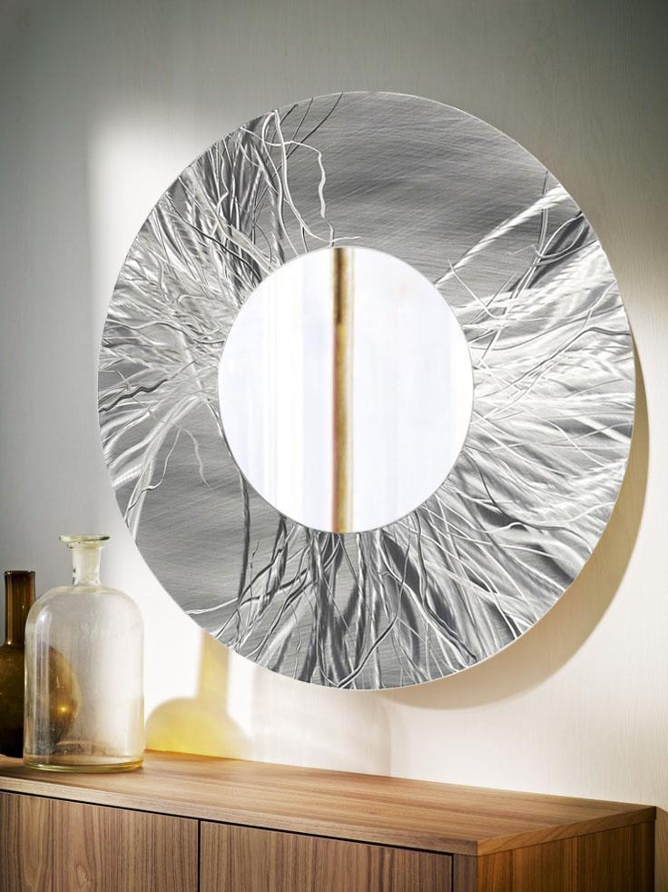 Large round silver contemporary metal wall mirror art for Circle mirror designs