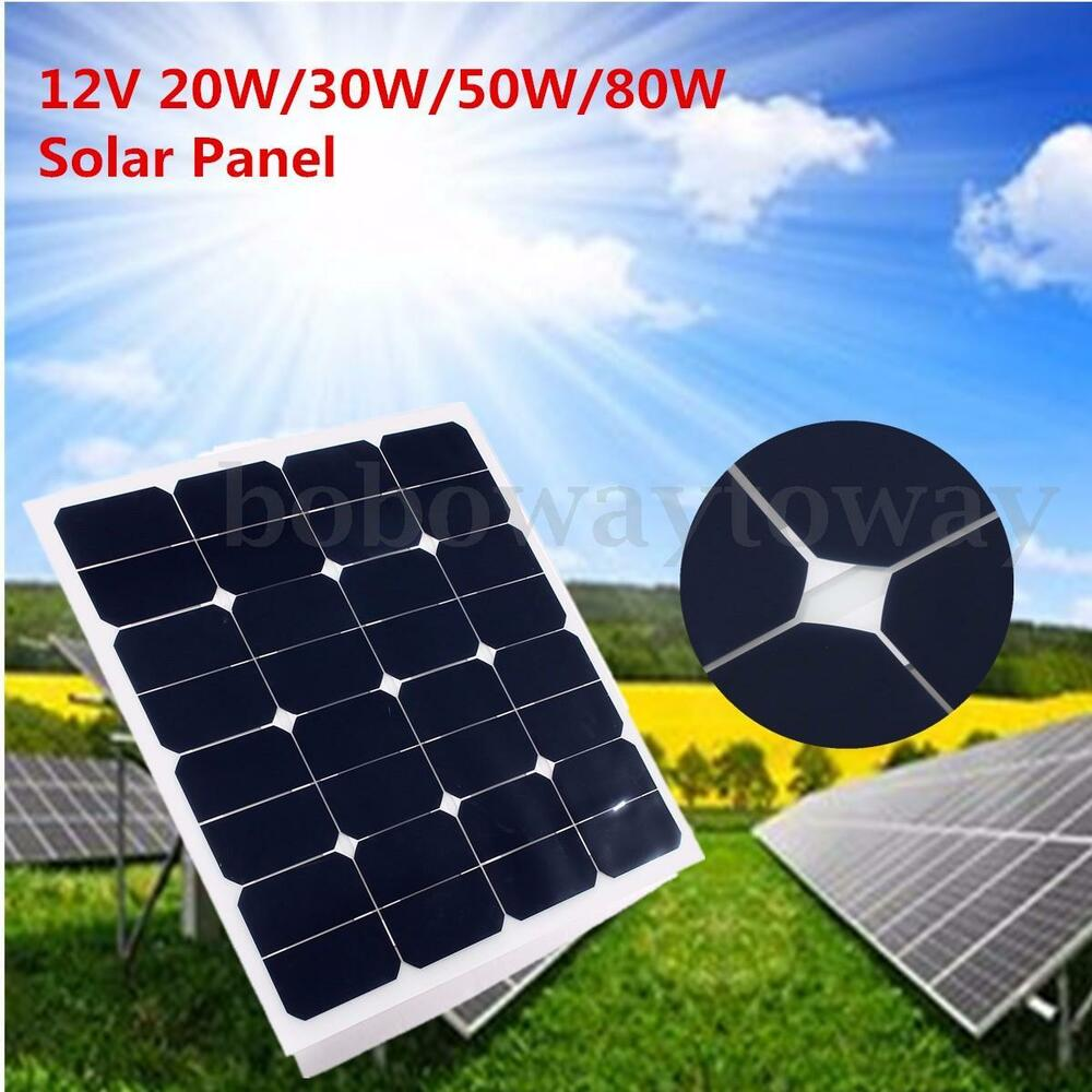 12v solar panel 20w 30w 50w 80w battery charger cable. Black Bedroom Furniture Sets. Home Design Ideas