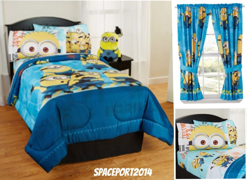9pc Despicable Me Minions Full Comforter Sheets Curtains Set Bed In A Bag Room Ebay