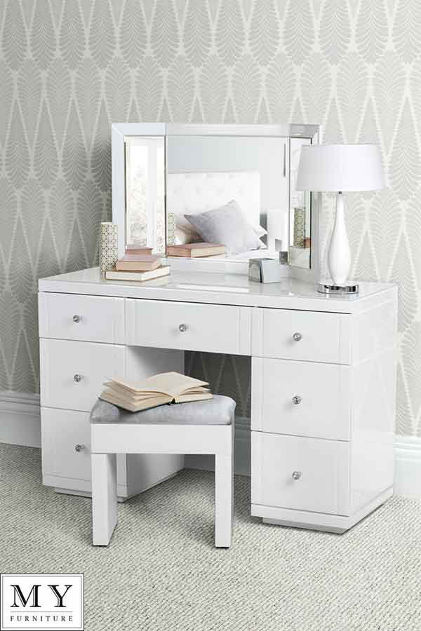 Large White Glass Dressing Console Table Desk From My