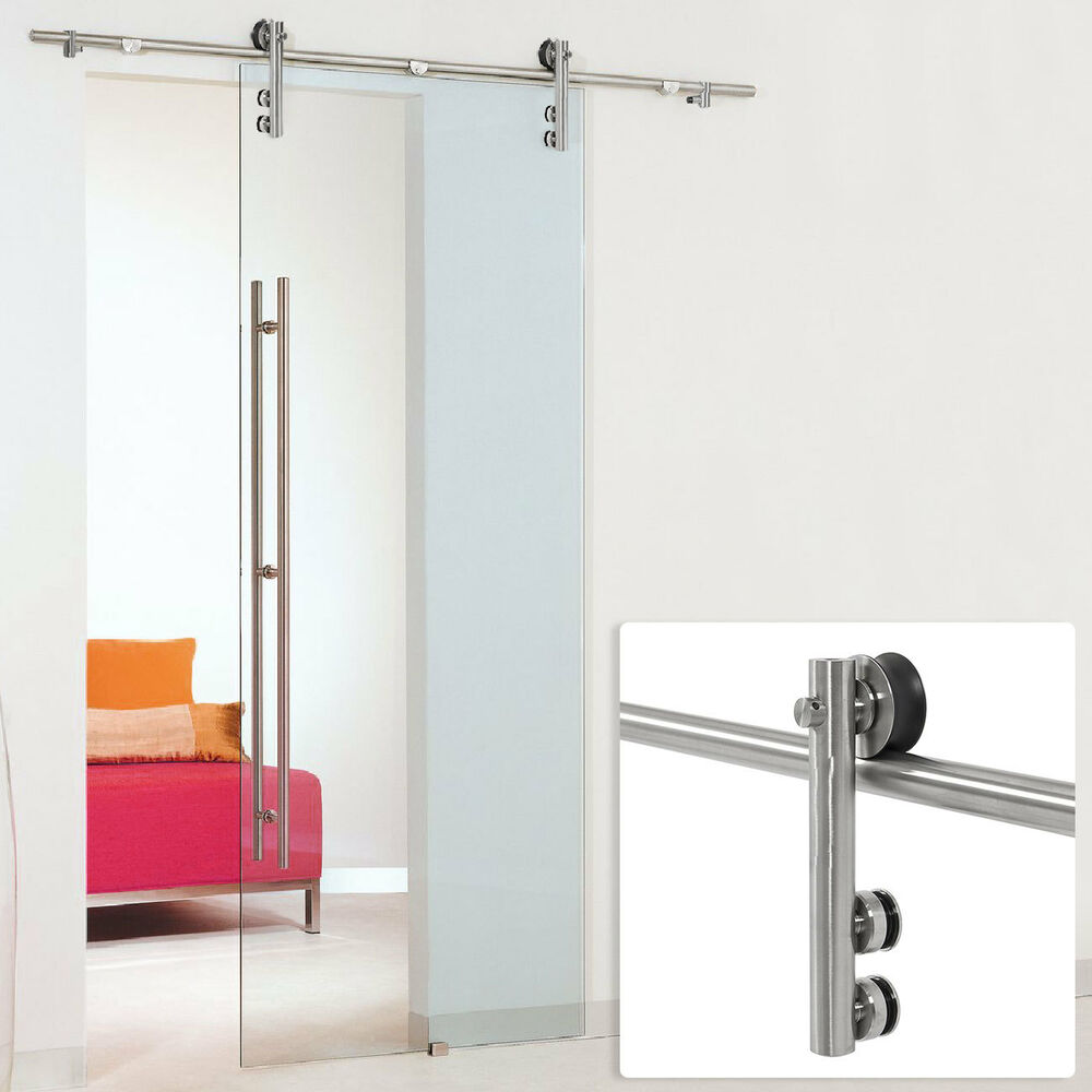 6 6 ft modern stainless steel interior sliding mordern for Six foot sliding glass door
