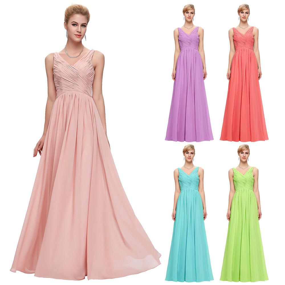 Maxi women sexy long chiffon wedding bridesmaid evening for Formal long dresses for weddings