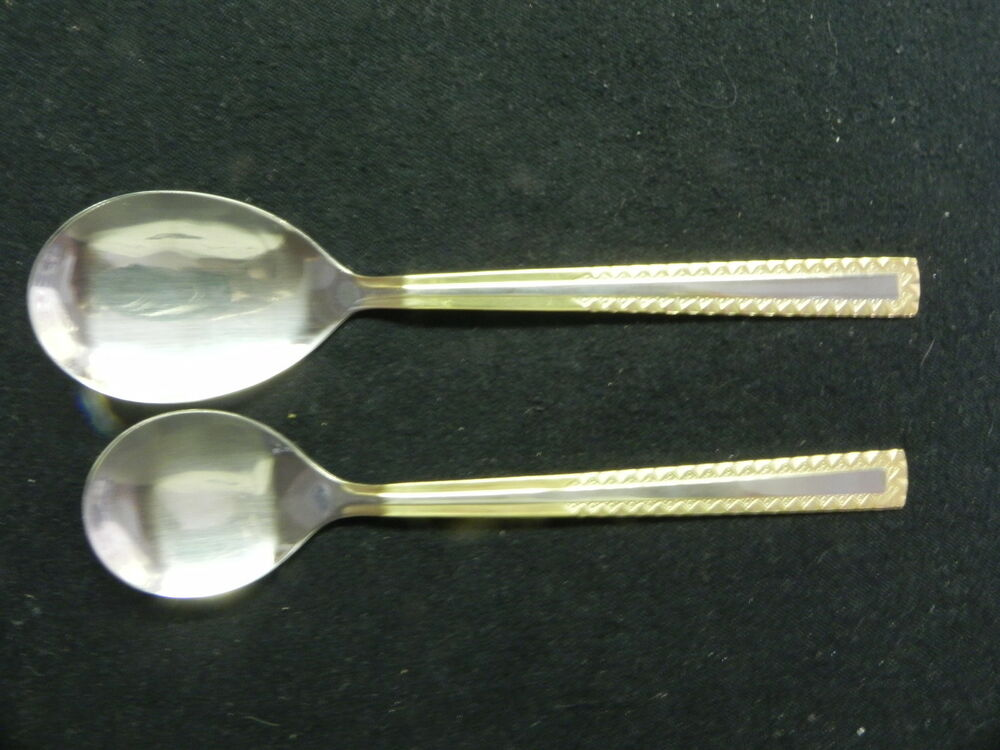 edelstahl germany rostfrei stainless 18 10 princess gold 2 serving spoons ebay. Black Bedroom Furniture Sets. Home Design Ideas