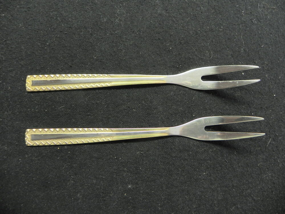 edelstahl germany rostfrei stainless 18 10 princess gold 2 pickle forks ebay