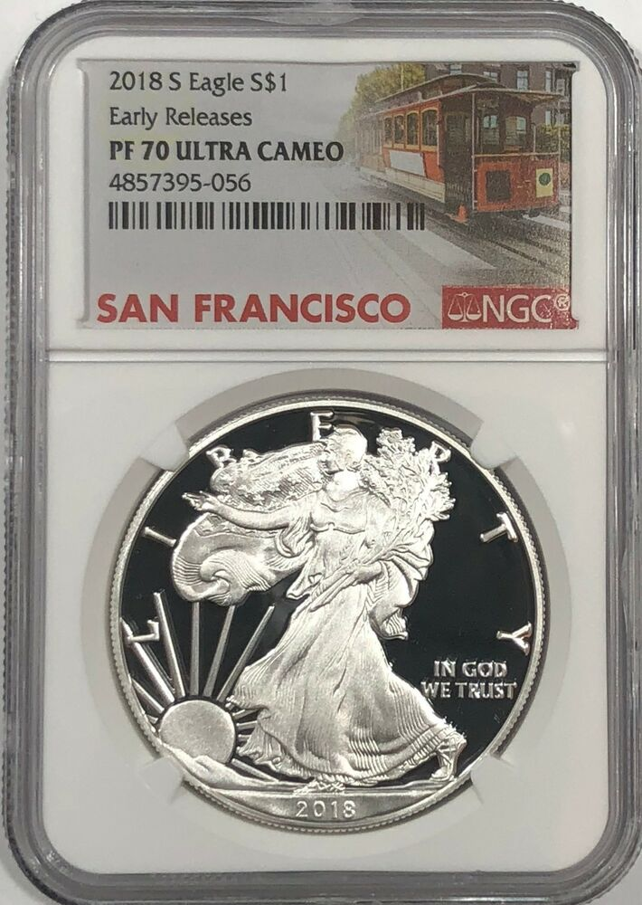 2018 S Ngc Pf70 Early Releases Proof Silver Eagle Trolley