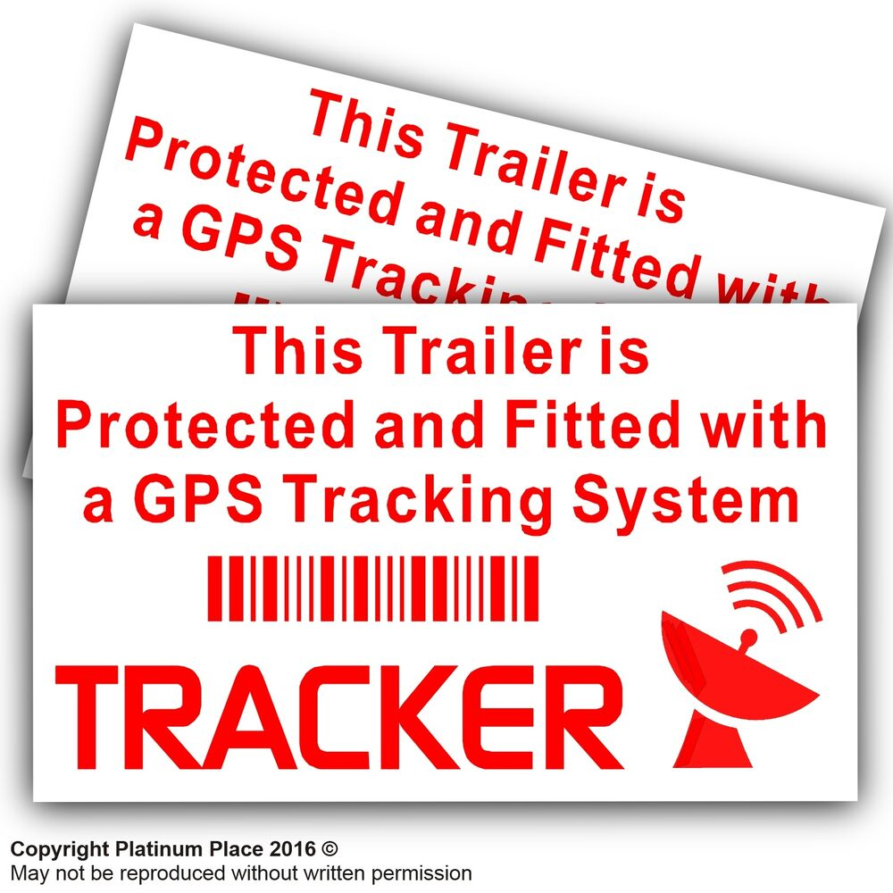 Details about 2 x trailer gps tracker warning stickers carvancampinglorry security signs
