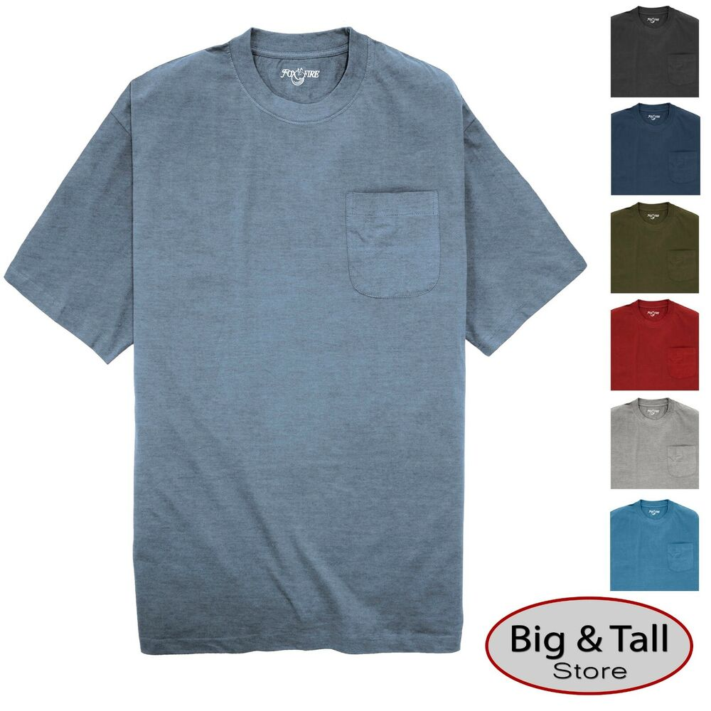 Big tall men 39 s foxfire pocket t shirts 100 cotton 3xl for Tall mens dress shirts
