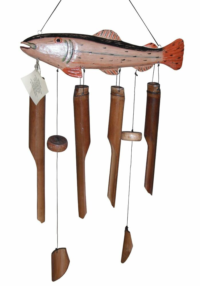 Trout fish wind chime carved wood hand made lodge fishing for Fish wind chimes