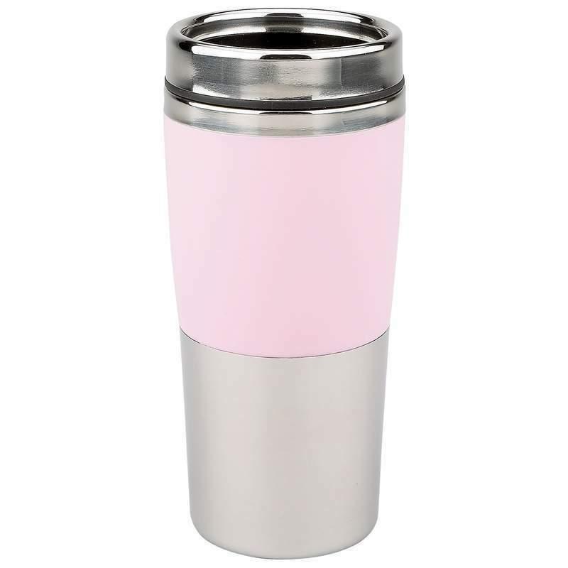 maxam 16oz pink stainless steel insulated coffee travel mug nib wp ebay. Black Bedroom Furniture Sets. Home Design Ideas