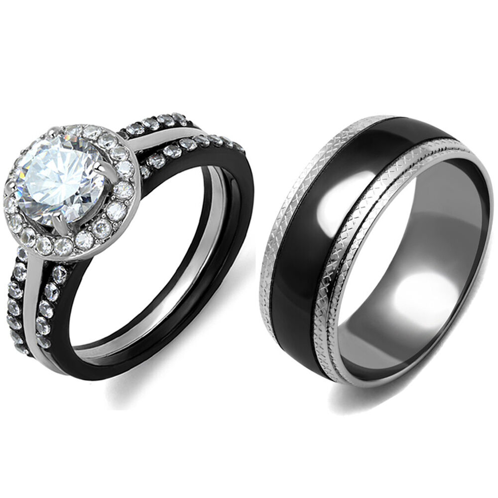 4 PCS Couple Rings Women Stainless Steel CZ Wedding Ring