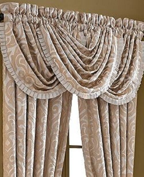 Queen BELLAGIO Valance Waterfall Style Gold Pearl Ivory NEW 1Q ...