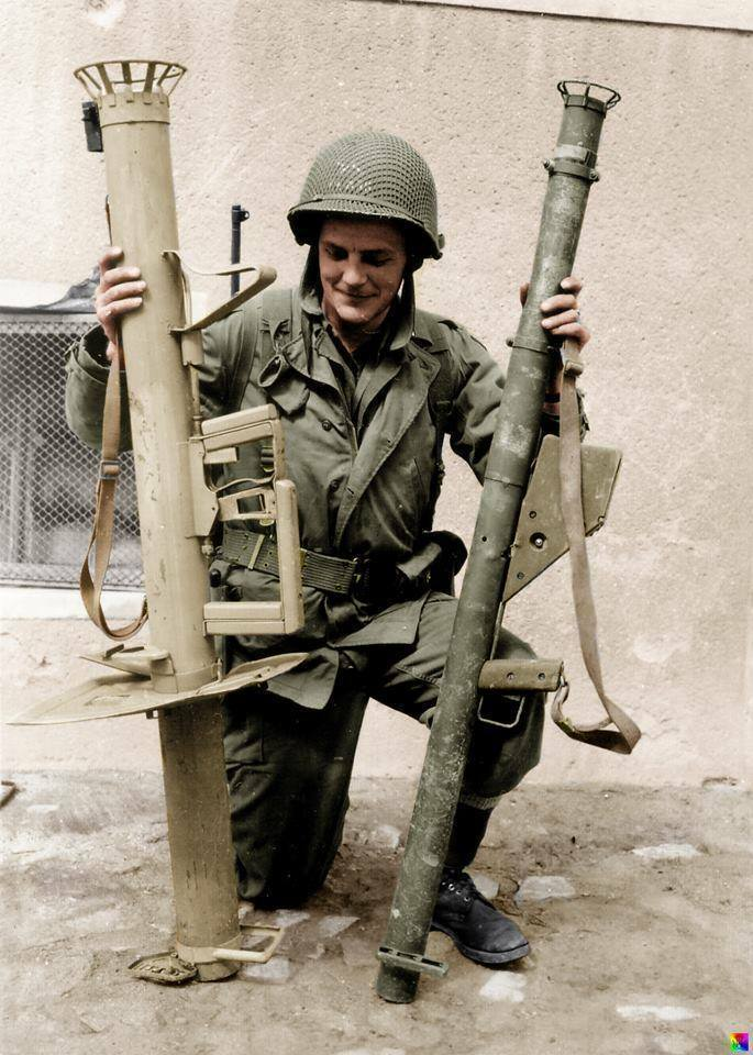 COLOR WWII Photo US Soldier with Panzerschreck WW2 B&W ...