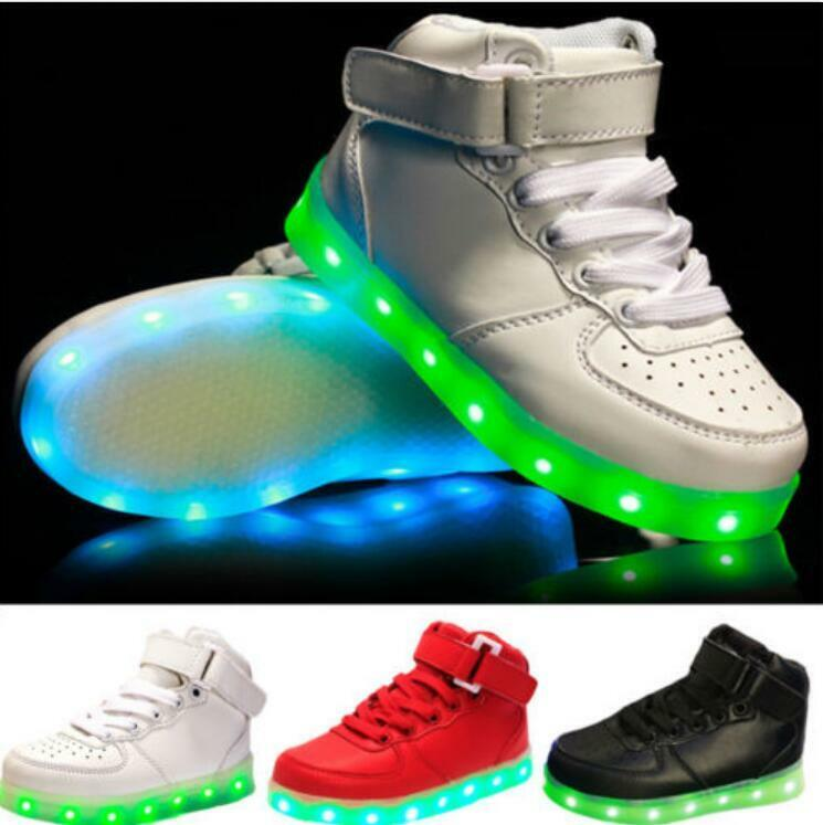 Kids USB Charging LED Light Up Luminous Shoes Boys Girls ...