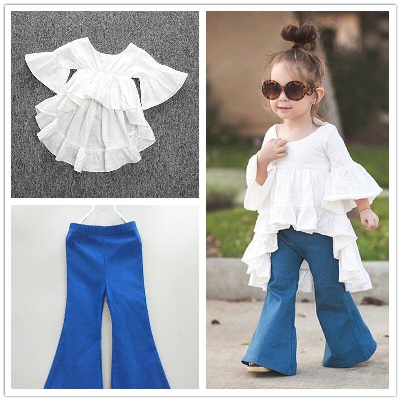 70287c76b601 2pc Toddler Kids Baby Girls Outfits Cotton tops+Denim Flared pants ...