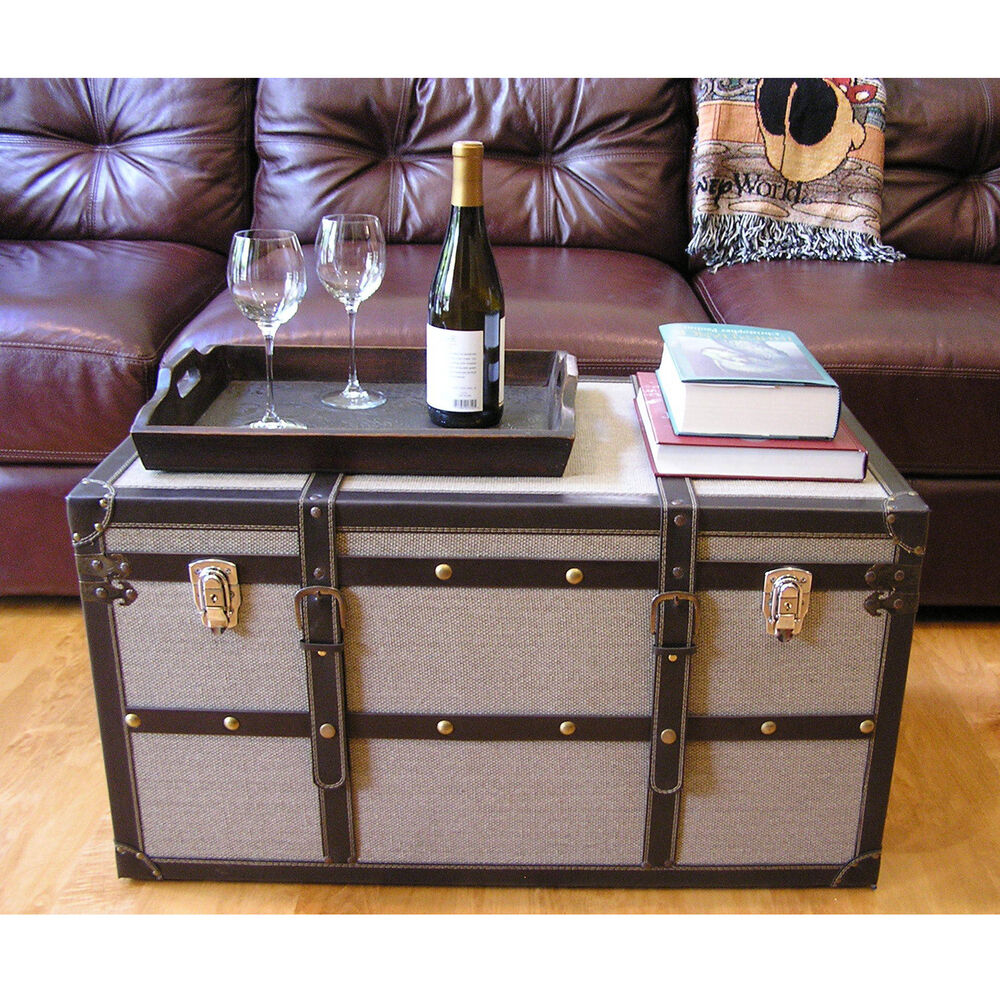 Wood Trunks And Chests ~ Decorative vienna large wood steamer trunk wooden treasure