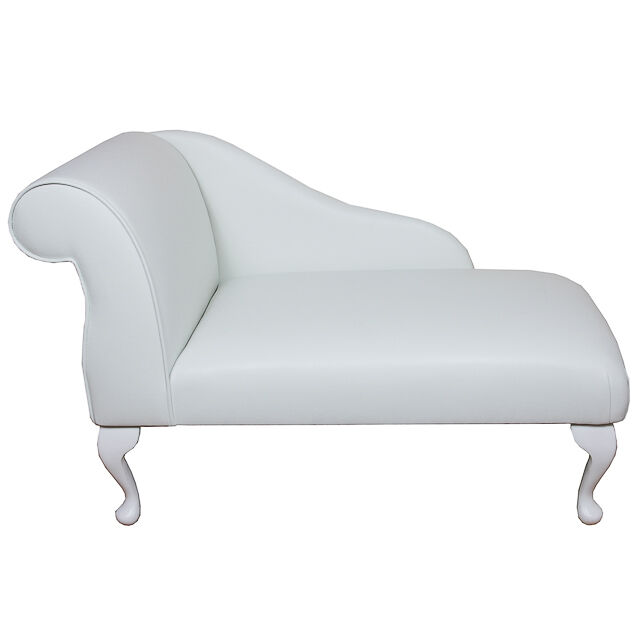 Small chaise longue chair in white faux leather ebay for Chaise longue ebay