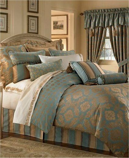 Waterford Reardan Turquoise Gold King Comforter Ebay