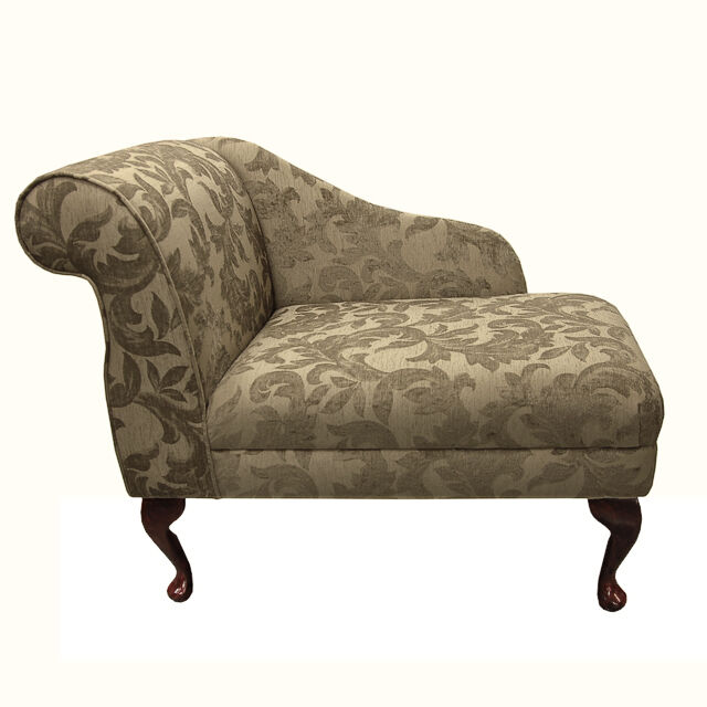 compact chaise longue chair in a floral gold fortuna fabric ebay. Black Bedroom Furniture Sets. Home Design Ideas