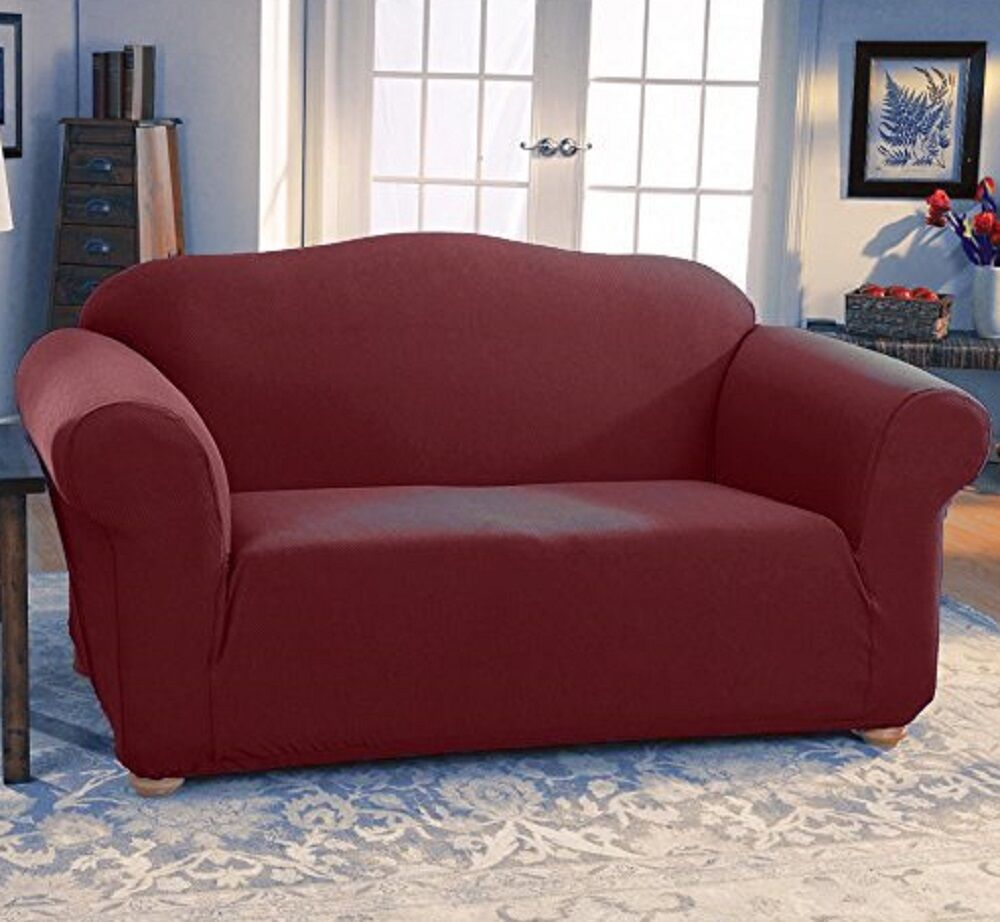 Jersey stretch 2 pc furniture slipcover set sofa couch loveseat covers burgundy ebay Loveseat stretch slipcovers