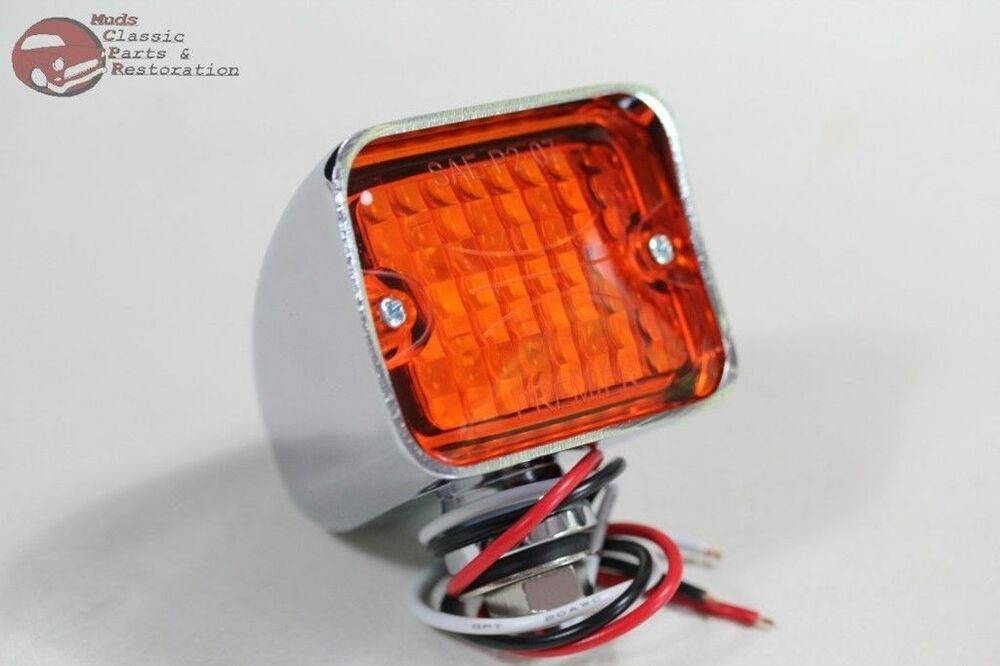 Hot Rod Turn Signals : Large chrome led amber park turn signal blinker light lamp