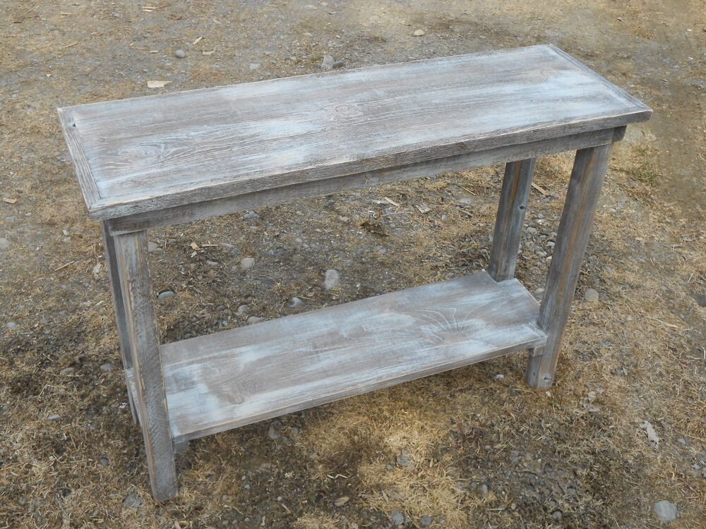 Rustic handcrafted handmade barn wood sofa table barn Furniture made from barn wood