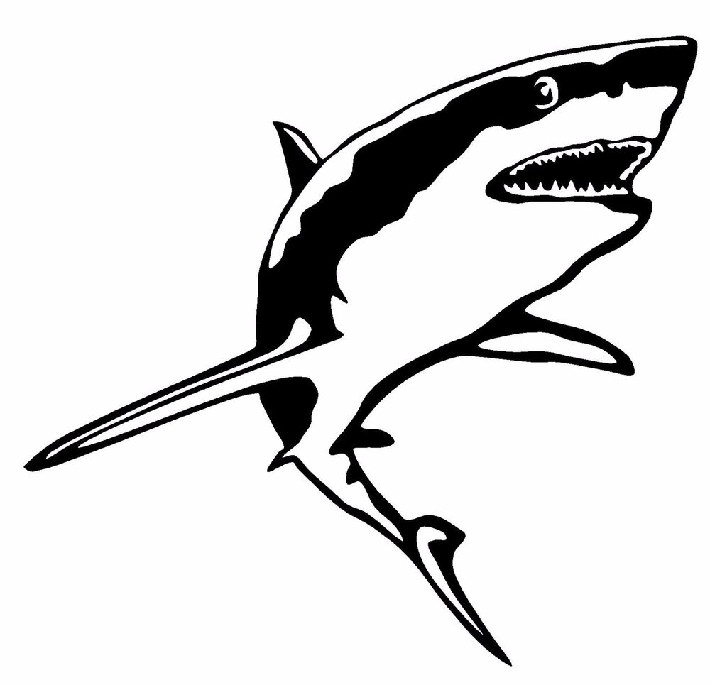 GREAT WHITE SHARK VINYL DECAL CAR WINDOW WALL LAPTOP