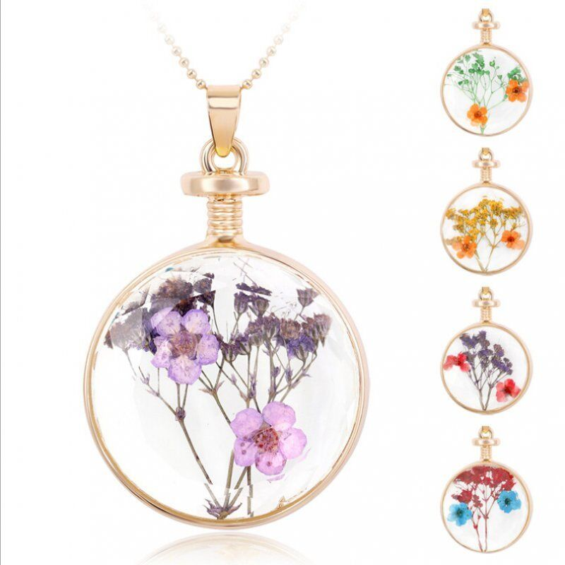 Real Dried Flowers Round Glass Current Bottle Necklace
