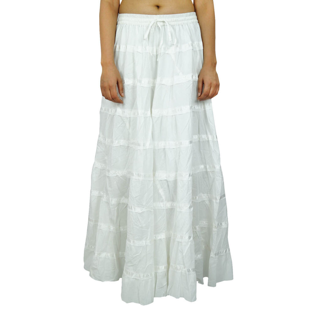 2019 year look- White Long skirt hippie pictures