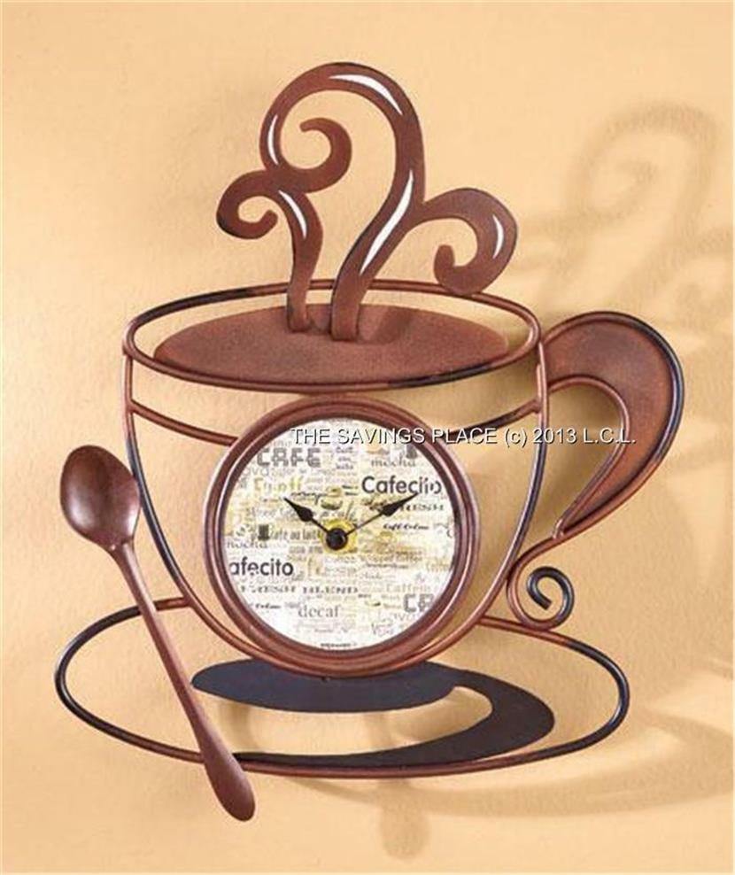 Decorative Kitchen Coffee Cup Wall Clock Battery Operated